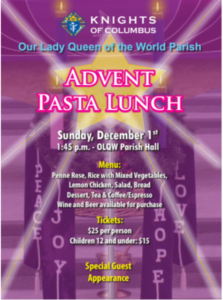 Tickets are selling fast.  Purchase yours this weekend after all Masses!
